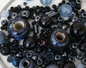 KIT Black Gray Smoked Glass Beaded Wrap Memory Wire Bracelet KIT