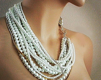 Bridal Statement Necklace Chunky Pearl Necklace Wedding Necklace Bridal Jewelry Pearl Rhinestone White and Gold Silver Wedding Jewelry