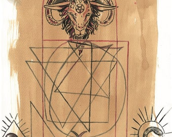 """Digital Serigraph Limited to 10 copies signed by the artist. Title: """"Baphomet""""-Measures 48 x 33 cm"""