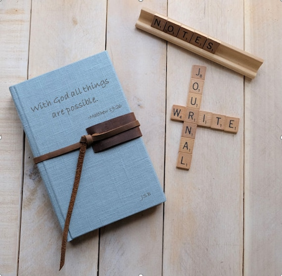 Bible Verse or Inspirational Quote Journal or Sketchbook with Leather Tie