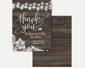 Dark Wood Lights and Lace Thank You Cards Bulk, Editable Thank You Card Template, DIY Thank You Card for Wedding, Thank You Card with Photo