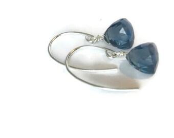 London Blue Earrings Blue Topaz Earrings London Blue Topaz earrings Quartz earrings Silver earrings December birthstone