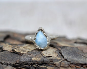 Silver Larimar Ring, Larimar Ring, Turquoise Ring, Crystal Jewelry, Rings, Copper Rings, Silver Ring, Larimar, Crystal Ring, Electroforming