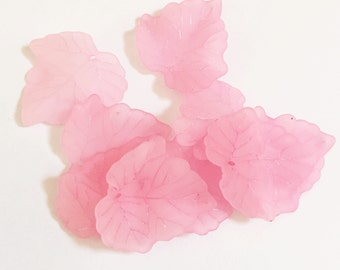 40 pcs of Frosted Acrylic leaf drops 24x22mm - Pink