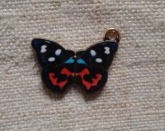 set of 2 black butterflies, gold metal charms