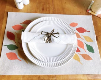 Placemats, Fall decor, Thanksgiving Decor, Leaves Pattern