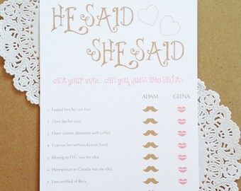 Custom Printable - He Said She Said Bridal Shower game Rustic Vintage Modern Shabby Chic