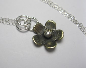 Mixed Metal Necklace -  Sterling Silver and Brass  Necklace - Brass Flower Necklace - Gift for Her