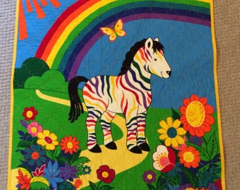 Zebra, Rainbow, Toddler Quilt