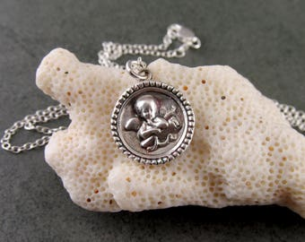 Silver cupid pendant, handmade eco friendly fine silver antique button necklace-OOAK