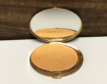 Vintage Gold Majestic Compact, Vintage Mirrored Compact, Powder Compact, Vintage Gold Compact, Travel Compact, Purse Compact