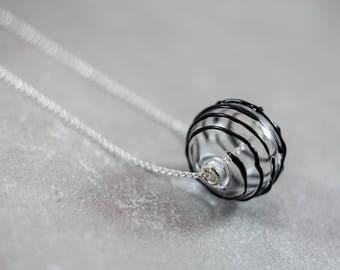 Minimalist necklace - Glass globe necklace - Glass ball pendant - Sphere necklace - Glass globe pendant - Glass ball necklace
