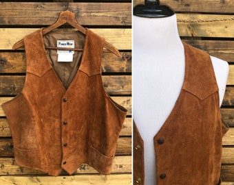 1970's Pioneerwear Suede Leather Vest | Western Cowboy | Made in USA
