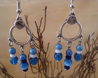 Earrings dangle and original blue and white