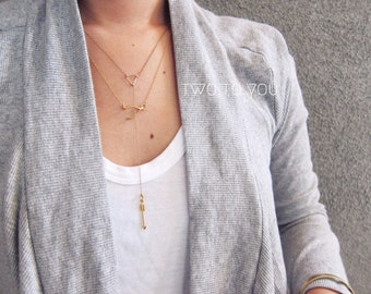 Apollo Triangle 24kt Gold Plated Sterling Silver Arrow Lariat Necklace - Insurance included in ALL domestic shipping!