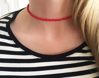 Beaded choker, red choker, red beaded choker, beaded necklace, red necklace, choker necklace, boho choker, layer choker, layer necklace