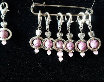 Set of 7 HANDMADE Pink and Silver Heart Stitch Markers Knit Crochet VALENTINE'S Gift