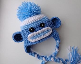 Newborn Blue Sock Monkey Crochet Hat, baby boy, photo prop, blue monkey,