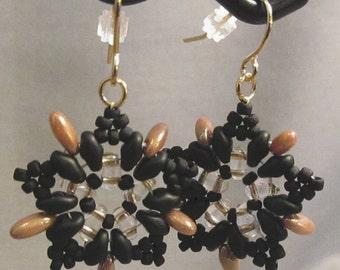 Black & Gold Starburst Handwoven Earrings