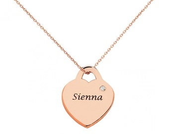 Heart Pendant Necklace in 18k Rose Gold Plated 925 Sterling Silver, Birthstone necklace, Birthstone heart pendant with birthstone