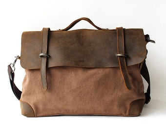 Mens Canvas Messenger Bag, Leather Messenger Bag, Laptop Messenger Bag