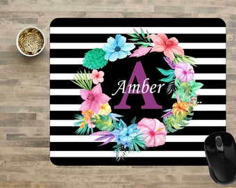 Floral Mouse Pad, Water Color Mouse pad, Rugby Stripe Mouse Pad, Floral Bouquet Mouse Pad, Monogram  Mouse pad, Personalized Mouse Pad