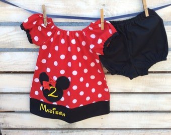 Minnie Mouse Birthday Dress, Minnie Mouse Birthday outfit, 2nd Birthday Dress, 2nd Birthday Minnie Mouse Dress, Minnie Mouse Dress
