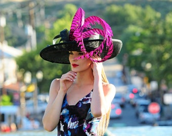 Kentucky Derby Hat. Formal hat. Del Mar , Black hat. Royal Ascot hat. Women Couture hat for weddings, races, church and other ocaasions