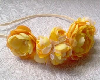 Pale yellow flower etsy yellow flower crown wedding headpiece pale yellow flower wreath bridal headband bridesmaids gift first communion flower girl headband mightylinksfo