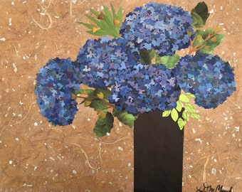 Reserved for Sally - Blue HydrangeaBouquet - original collage - original wall art