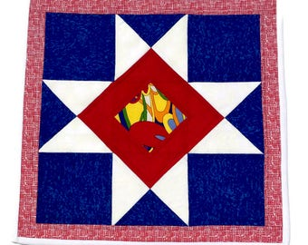 Patriotic Quilted Table Topper, Independence Day Table Topper, Patriotic Table Cloth, Red, White and Blue Centerpiece, Quiltsy Handmade