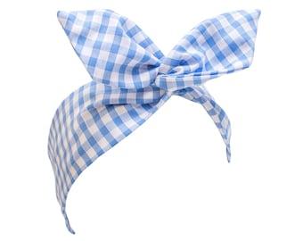 Baby Blue Gingham Wire Headband, Dolly Bow, 1950s Pin Up Rockabilly Hair Wrap, Twist Hair Scarf, Bandana, Dorothy Gingham Headband