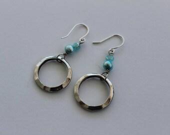 Light Blue Pearl and Silver Hoop Earrings