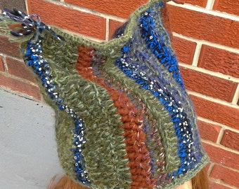crochet funky female hat with cat ears/ bohemian crochet cap for her/ fiber art to wear