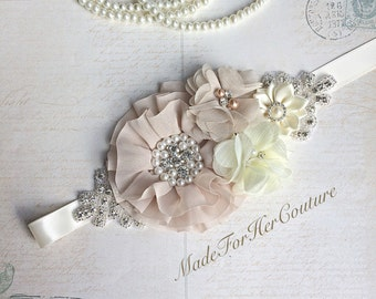 Rustic Sash, beige ivory wedding Sash, bridal sash, Bridal Belt, Flower girl Sash belt, Bridesmaid Sash/Belt, Maternity Sash, Maternity belt