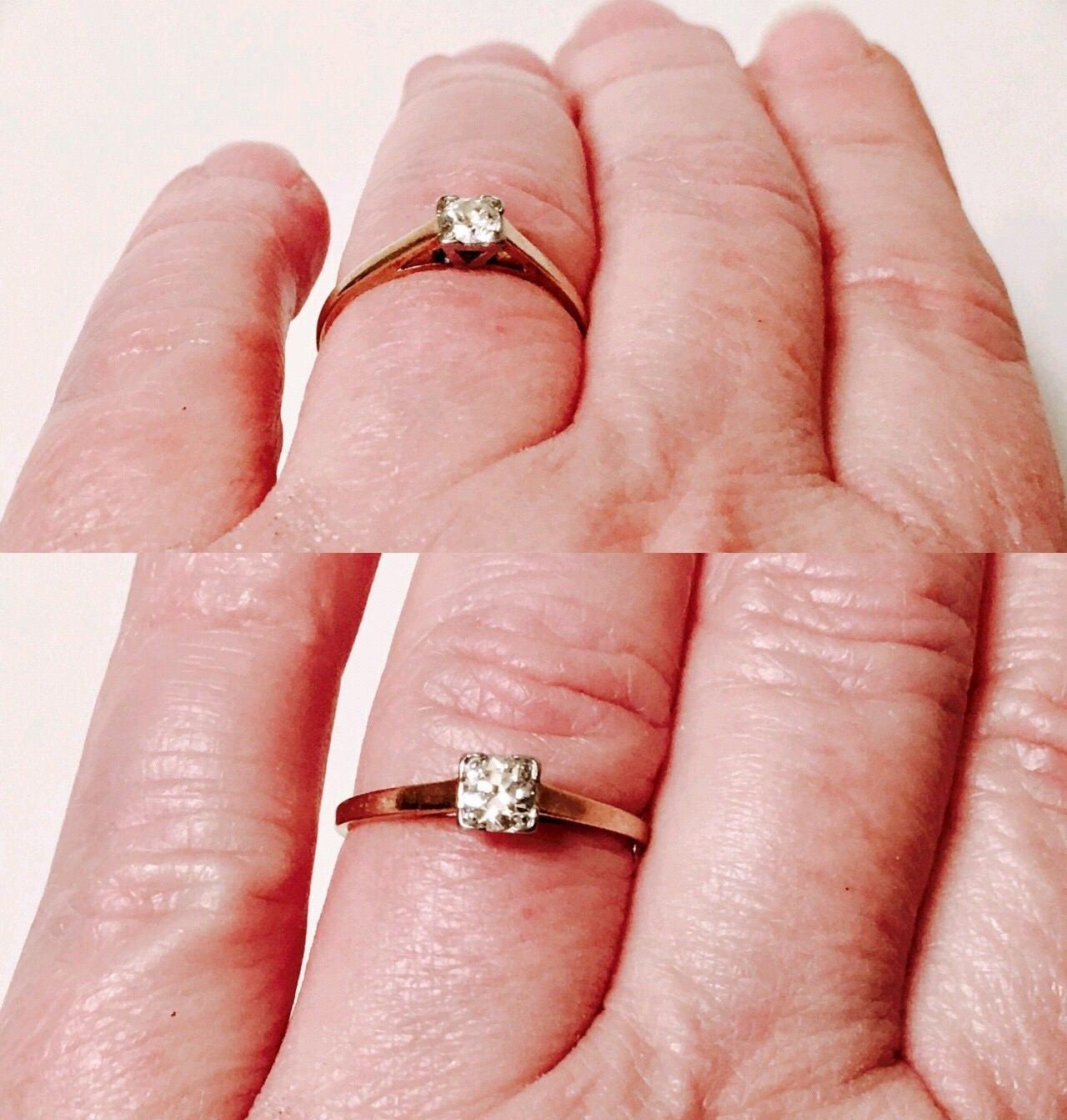Vintage 585 14k Gold 1/4 Carat Diamond Solitaire Engagement Ring ...