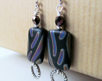 Black Peacock Striped and Purple Glass Beaded Sterling Silver Earrings
