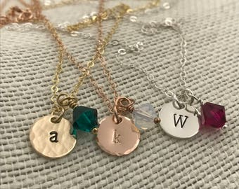 Tiny Initial and Birthstone Charm Necklace in Sterling Silver, 14k Gold Filled or 14k Rose Gold Filled