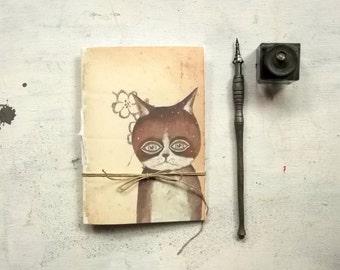 cat pocket journal blank notebook -  hand  binding travel Journal -  tiny diary - woodland stationary