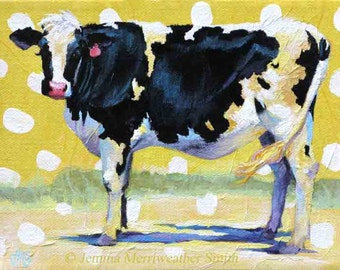 Cow Painting, Cow Print, Cow Art & Buttercup Yellow, Happy Cow Art Print 8 x 10 by Jemmas Gems