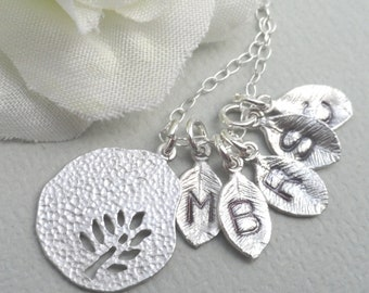 Family Tree Necklace  - Personalized Monogrammed Leaf Necklace Sterling Silver