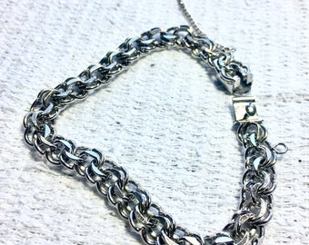 Charm Bracelet 925 Sterling Silver Star B N.S.Snap Triple Link Slide Closure