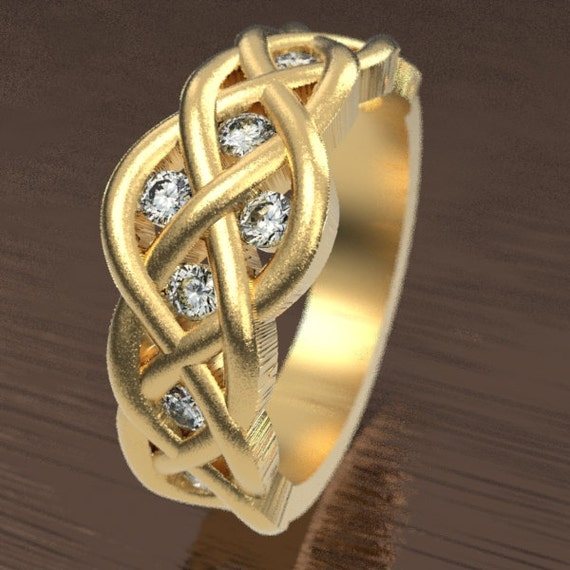Celtic Moissanite Diamond Wedding Ring With Woven Knotwork Design in 10K 14K 18K Gold, Palladium or Platinum Made in Your Size CR-764
