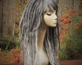 Dark Grey and Silver Synthetic Dreadlock Wig * Dread Wig * Silver Wig * Dread Beads * Dreadlock Wraps  * Nu Goth * Pastel Goth * Hippy *
