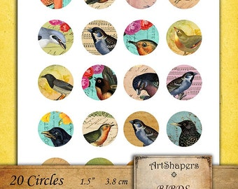 BIRDS- 1.5 inch circles, jewelry making backgrounds,instant download paper,digital papers,pendant, digital collage sheet DCS98