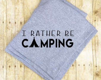 Happy Camper, Hiking gift, Cotton Camping Blanket, Travel Gift, Girlfriend Gift, Camping Gift, Outdoor Gift, Christmas gift, Gift for her