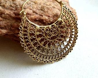 Mandala Hoop Earrings, unique design, Tribal Brass Earrings, Brass Earrings, Boho Earrings. Geometric Earrings. Ethnic Earrings. Mandala.
