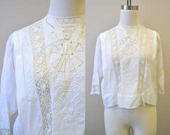 Victorian/Edwardian White Lace Lawn Blouse