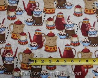 Coffee House Steamy Java Pots Brewing on Tan  BY YARDS Henry Glass Cotton Fabric