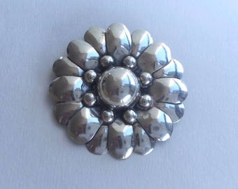 Marvelous Mexican Sterling Silver Flower Pin